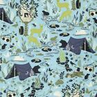 Free Spirit Blue Forest Frivolity Camping Deer, 1/2 Yd Free Ship Quilt Fabric