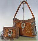 New Montana West Trinity Ranch, Embossed Western Hobo w/ Leather Front