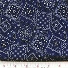 Blazin Bandanas Navy Blue Bandana Pattern Cotton Fabric Fat Quarter