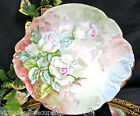 LIMOGES FRANCE HANDPAINTED PLATE WHITE ROSES ARTIST SIGNED CHARGER