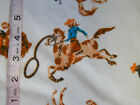 Western Rodeo Cowboy Brown Horse White Flannel Cotton Quilting Fabric BTY
