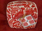 222 FIFTH PARADISE CHINTZ BIRD TOILE RED WHITE APPETIZER PLATES SET OF 4 NEW