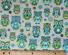 SNUGGLE FLANNEL BLUE  GREEN OWLS on LT GRAY  100 Cotton Fabric NEW BTY