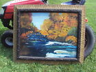 VERY LARGE ANTIQUE GESSO WOOD FRAMED PAINTING ON BOARD Hunting Cabin