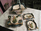 ANTIQUE or VINTAGE BELGIUM HAND PAINTED PEACOCK BASKET, BOX & LID 2 ASHTRAYS