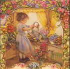 LISI MARTIN..GIRL WATERS FLOWER GARDEN,DOG,COLLECTIBLE BIRTHDAY GREETING CARD