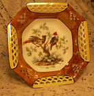 VINTAGE BIRD MAJOLICA WEAVE BOWL DISH GERMAN NUMBERED PORCELAIN CHINA