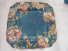 222 FIFTH GABRIELLE PAISLEY FLORAL TEAL SQUARE DINNER PLATES SET OF 3 NEW