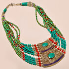 NEPALI TURQUOISE & RED CORAL WITH LAPIS LAZULI ANTIQUE . 925 SILVER NECKLACE