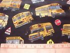 Elizabeth Studio Fabric School Yellow Buses on Black 4 Quilts Aprons Totes