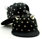 Punk rivet metal spiky cute ear black hip-hop baseball basketaball hat cap