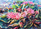 Original Watercolor Painting of Pink Water Lilies 'Pink Blossom' NOVICA Thailand