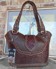 New 'Montana West' Concealed Carry Western Bag w/ tooled Leather Accents- Coffee