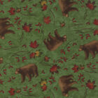 Moda Holly Taylor Turning Leaves Green Bear Quilt Fabric 1/2 Yard Free Shipping
