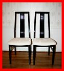 Pair Black High Gloss Modern Hollywood Regency Italian Made Wooden Side Chairs