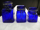 1968 GRANNYS PRODUCTS COBALT BLUE CANISTERS MADE IN ITALY VINTAGE SET OF 3