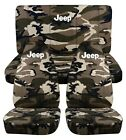 1987-2002 Jeep Wrangler Camouflage Front Rear Seat Covers W Design Choose Camo