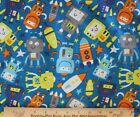 SNUGGLE FLANNEL ROBOTS  ROCKETS IN SPACE on BLUE 100 Cotton Fabric NEW BTY