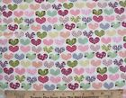 SNUGGLE FLANNEL MULTI COLOR HEARTS on WHITE100 Cotton Fabric NEW BTY