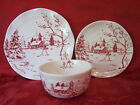 MAXCERA HOLIDAY TOILE SNOWMAN NORDIC WINTER CHRISTMAS 18 PC DINNERWARE SET sv 6