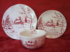 MAXCERA HOLIDAY TOILE SNOWMAN NORDIC WINTER CHRISTMAS 12 PC DINNERWARE SET