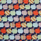 SNUGGLE FLANNEL APPLES PATTERNED Orange Blue on Navy 100 Cotton Fabric NEWBTY