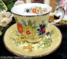 PARAGON ORIENTAL SERIES SUNG  PATTERN TEA CUP AND SAUCER YELLOW PATTERN BIRD