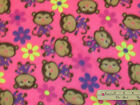 Pink Monkey Fleece Fabric by the Yard BTY