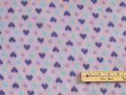 Purple Hearts on Lavender Fleece Fabric by the Yard BTY