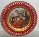 Superb Antique Royal Vienna Porcelain Crimson & Gold Plate w Music Scene