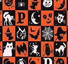 FABRIC 1 Yard Halloween Masquerade SCARY BLOCKS MASQ22707-ORA1 Red Rooster