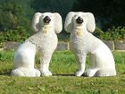 SUPERB Pr 19thc LARGE STAFFORDSHIRE POODLE DOGS SITTING WITH OPEN LEGS C.1870