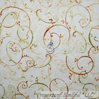 BonEful Fabric Cotton Quilt Cream Green Orange Gold Leaf Fall Swirl Calico SCRAP