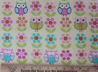 SNUGGLE FLANNEL PASTEL OWLS  FLOWERS on YELLOW 100 Cotton NEW BTY