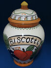 Biscotti Cookie Jar Treat Canister Container Tuscan Fruit Ceramic Hand Painted