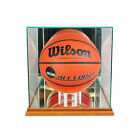 NEW GLASS FULL SIZE BASKETBALL DISPLAY CASE WITH WALNUT WOOD AND MIRROR BACK