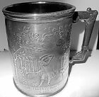 19th c. Little Bo Peep Silverplate Child's Mug, Nursery Rhyme, Reed