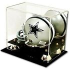 (2) TWO - Deluxe UV Protected Mini Football Helmet Display Case w Mirror Back