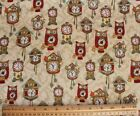 SNUGGLE FLANNEL WINKING OWLS  CLOCKS  100 Cotton Fabric NEW BTY