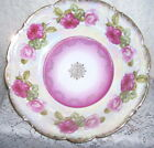 VINTAGE CHARGER DISH WITH PINK ROSES 10.5