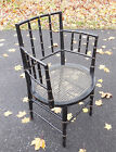 Vintage Regency Style Faux Bamboo Ebonized Arm Chair w/Gold Accents  Caned Seat