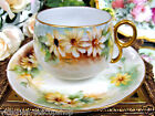 BAVARIA GERMANY TEA CUP AND SAUCER HANDPAINTED DAISY PATTERN TEACUP