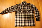 Vintage LORDE & TAYLOR nylon quilted lined wool shirt jacket black white plaid M
