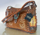 New Montana West Trinity Ranch, Embossed Western Hobo w/ Leather Front- Brown