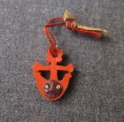 VINTAGE POP OUT EYES KOBE ANCHOR RED CELLULOID CHARM PENDANT WITH STRING