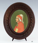 late 1800s/early 1900s Italian Carved Wooden Frame w/Painting of Dante Alighieri