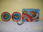 Vintage 1930's OHIO ART Tin Toy Dish Set of 4 ..  Tray, Cup and 2 Plates #47