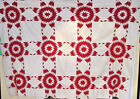 DYNAMIC RED AND WHITE TOUCHING STARS ANTIQUE QUILT TOP C1900