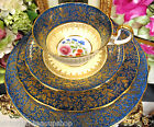 AYNSLEY TEA CUP AND SAUCER TRIO PLUS PLATE PAINTED FLORAL GOLD GILT TEACUP BLUE