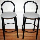Vintage Modern Outdoor Counter Bar Stools 80s Black Tubular Paperclip Style (2)